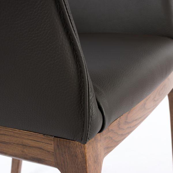 Lederstuhl Armlehnstuhl Santo Dark Braun Nussbaum – Bild 11