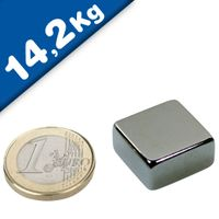 Quadermagnet Magnet-Quader  20 x  20 x 10mm Neodym N42, Nickel - hält 14,2 kg