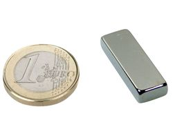 Block Magnet 30 x 10 x  5mm Neodymium N40, Nickel - pull 6,5 kg - 5 pieces