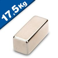 Quadermagnet Magnet-Quader  30 x  12 x 12mm Neodym N52, Nickel - hält 17,5 kg