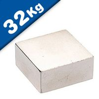 Aimant Bloc 30 x 30 x 15mm Néodyme N45, Nickelé - force 32 kg