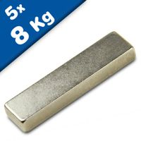 Block Magnet 40 x 10 x  5mm Neodymium N42, Nickel - pull 8 kg - 5 pieces