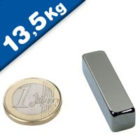 Aimant rectangulaire Bloc 40 x 10 x 10mm Néodyme N42, Nickelé - force 13,5 kg