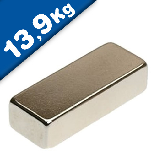 Block Magnet 40 x 12 x 10mm Neodymium N35 (Rare Earth), Nickel - pull 13,9 kg