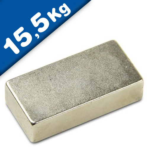 Block Magnet 40 x 15 x 10mm Neodymium N35 (Rare Earth) Nickel - pull 15,5 kg