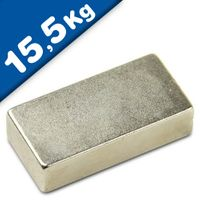 Quadermagnet Magnet-Quader  40 x  15 x 10mm Neodym N35, Nickel - hält 15,5 kg