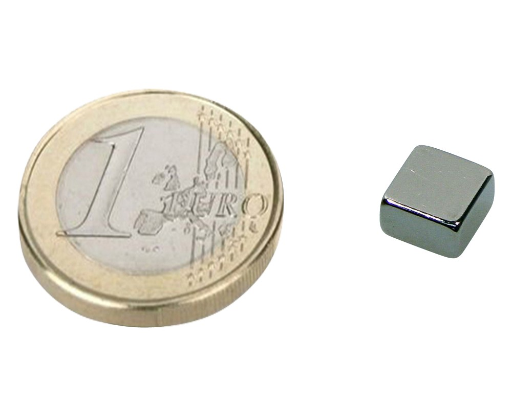 Block Magnet  8 x  8 x  4mm Neodymium N45, Nickel - pull 1,8 kg - 10 pieces