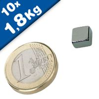 10 x Block Magnet  8 x  8 x  4mm Neodymium N45 (Rare Earth), Nickel - pull 700g