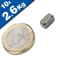 10 x Block Magnet 10 x  5 x  8mm Neodymium N45 (Rare Earth), Nickel - pull 2,6kg