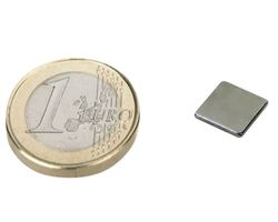 10 x Block Magnet 10 x 10 x  1mm Neodymium N42 (Rare Earth) Nickel - pull 0,65kg
