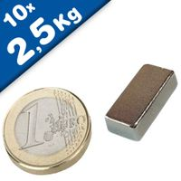10 x Block Magnet 13 x  6 x  4mm Neodymium N35 (Rare Earth), Nickel - pull 2,5kg