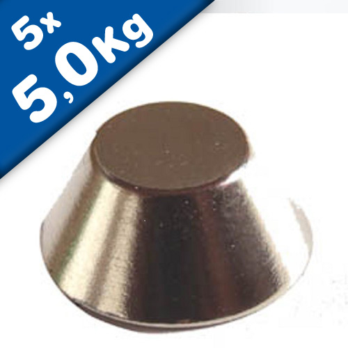 5 x Cone Magnet Ø 15/8 x 6 mm Neodymium N42 (Rare Earth) Nickel - Force 5 kg