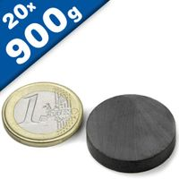 20 x Round Circle Disc Magnets Ø 25 x  5 mm Ceramic Ferrite Y35 - holds 900g