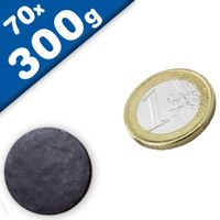 70 x Round Circle Disc Magnets Ø 22 x  2 mm Ceramic Ferrite Y30 - holds 300g