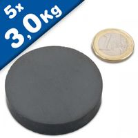 5 x Round Circle Disc Magnets Ø 50 x 10mm Ceramic Ferrite Y30 - holds 3 kg