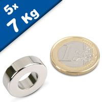 5 x Ring Magnets Ø 20/10 x 6 mm Neodymium N44 (Rare Earth) Nickel - Force 7 kg