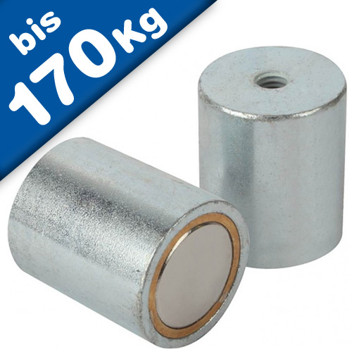Deep Pot holding Magnet, Neodymium (NdFeB) - Ø 6mm - Ø 63mm - with inner thread