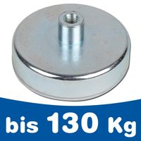 Flat pot holding magnet Ø 10 mm - Ø 125 mm Ferrite (Ceramic) - threaded insert