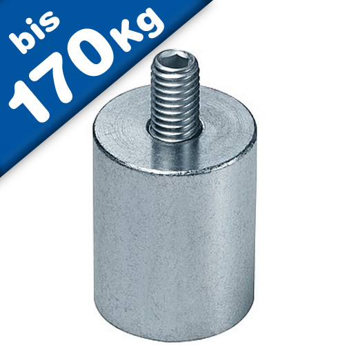 Deep pot holding magnet Ø 6mm - 63mm - Neodymium (NdFeB) - threaded neck, tappet