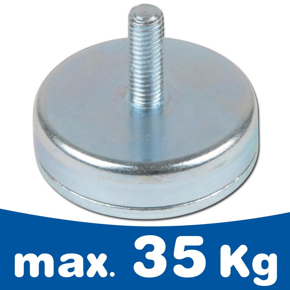 Flat pot holding magnet Ø 10 - 63 mm Ferrite (Ceramic) - threaded neck, tapped