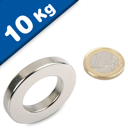 Ring Magnet Ø 40/23 x 6 mm Neodymium N42 (Rare Earth) Nickel - Force 10 kg