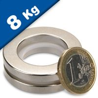 Ring Magnet Ø 40/25 x 5 mm Neodymium N42 (Rare Earth) Nickel - Force 8 kg