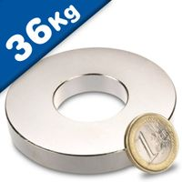 Ring Magnet Ø 70/30 x 10 mm Neodymium N42 (Rare Earth) Nickel - Force 36 kg