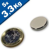 Disc Magnet Ø 18 x  3mm Neodymium N45, Nickel - pull 3,3kg – 5 pieces