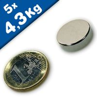 Disc Magnet Ø 18 x  5mm Neodymium N45, Nickel - pull 4,3kg – 5 pieces