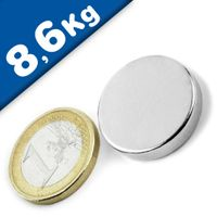 Round Disc Magnet Ø  25 x  5mm Neodymium N50 (Rare Earth), Nickel - pull 8,6kg