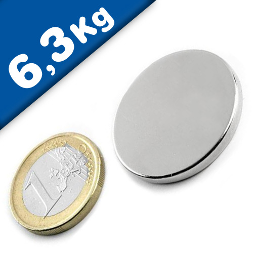 Scheibenmagnet / Rundmagnet Ø 30x 3mm – Neodym N45, Nickel – hält 6,3kg