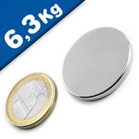 Round Disc Magnet Ø  30 x  3mm Neodymium N45 (Rare Earth), Nickel - pull 6,3kg