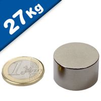 Round Disc Magnet Ø  25 x 15mm Neodymium N50 (Rare Earth), Nickel - pull 27kg