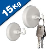 White Magnetic Hooks Pot Magnet with Hook Ø 25 mm, Neodymium Rare Earth - 15 kg