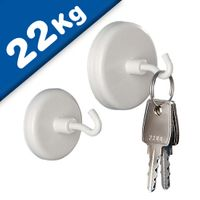 White Magnetic Hooks Pot Magnet with Hook Ø 32 mm, Neodymium Rare Earth - 22 kg
