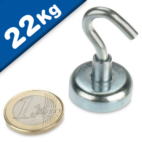 Magnetic Hooks, Pot Magnet with Hook Ø 25 mm, Neodymium Rare Earth - pull 22 kg