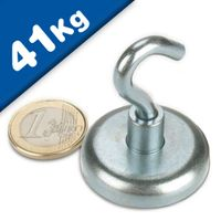 Magnetic Hooks, Pot Magnet with Hook Ø 36 mm, Neodymium Rare Earth - pull 41 kg