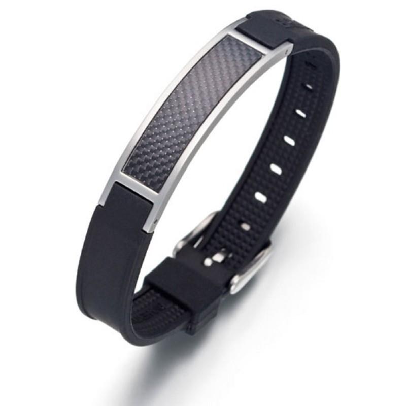 Bracelet magn tique carbone noir pour les hommes bijoux - Bracelet magnetique avis ...