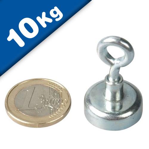 Eyebolt Magnets Pot Magnet with Eyelet Ø 20 mm Neodymium (Rare Earth) - 10 kg