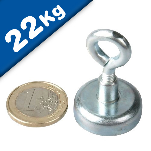 Eyebolt Magnets Pot Magnet with Eyelet Ø 25 mm Neodymium (Rare Earth) - 22 kg
