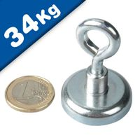 Eyebolt Magnets Pot Magnet with Eyelet Ø 32 mm Neodymium (Rare Earth) - 34 kg