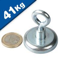 Aimant avec œillet Ø 36 mm Néodyme - Zingué - adh. 41 kg
