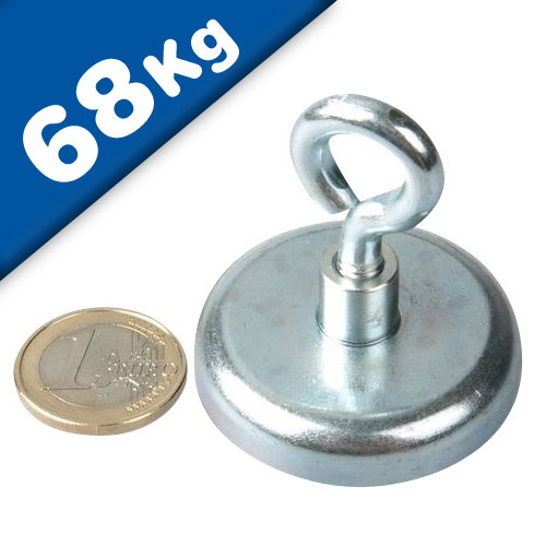 Eyebolt Magnets Pot Magnet with Eyelet Ø 42 mm Neodymium (Rare Earth) - 68 kg