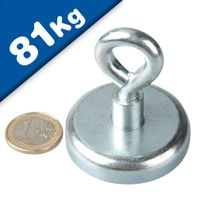 Eyebolt Magnets Pot Magnet with Eyelet Ø 48 mm Neodymium (Rare Earth) - 81 kg