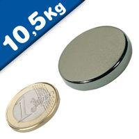 Disco Magnético Ø 30 x  5 mm Neodimio N50, Níquel – fuerza 10,5 kg