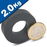 Aimant Anneau magnetique Ø  40 x 20 x 10 mm Ferrite Y35 – Force d'adhérence 2 kg