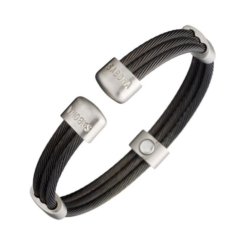Bracelet magn tique trio cable noir satin bijoux - Bracelet magnetique avis ...