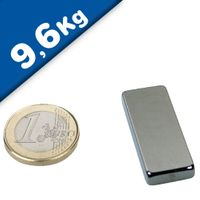 Aimant Bloc 40 x 15 x  5mm Néodyme N40, Nickelé - force 9,6 kg