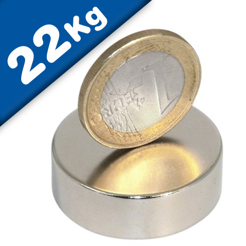 Round Disc Magnet Ø  30 x 10mm Neodymium N45 (Rare Earth), Nickel - pull 22 kg