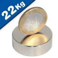 Disco Magnético Ø 30 x 10 mm Neodimio N45, Níquel – fuerza 22 kg